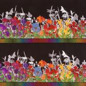 Rainbow of Jewels - Border Black Yardage