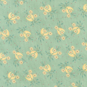 "Parlor Pretties - Quarter Moon with Floral Vine Aqua 108"" Wide Backing"