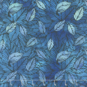 Seasons - Leaves Blue Digitally Printed Yardage