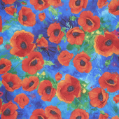 I Dream of Poppy - All Over Poppies Royal Digitally Printed Yardage