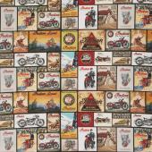 Indian Motorcycle - Vintage Signs Black Yardage