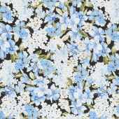 Blue Symphony - Floral Black Metallic Yardage