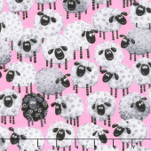 Mama Lal - Sheep Allover Pink Yardage