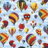 Transportation - In Motion Hot Air Balloons Blue Yardage