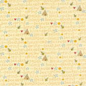 All About the Bees - Bee Words Yellow Yardage