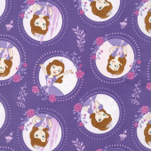 Sofia the First - Floral Frame Grape Yardage