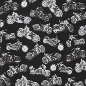 Novelty - Motorcycles Black Yardage