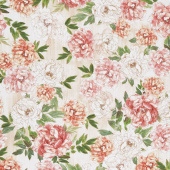 Peony Dance - Bloomed Peonies Multi Digitally Printed Yardage
