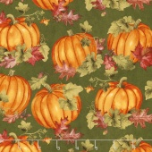 Colors of Fall - Pumpkins and Leaves Green Yardage