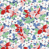 Hi - de - Ho! - Large Floral Navy/Red Yardage