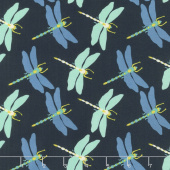 Butterfly Dance - Dragonfly Dance Navy Yardage