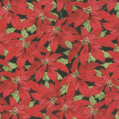 Festive Forest - Poinsettia Black Yardage