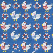A Whale of a Time - Seagulls Medium Blue Yardage