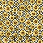 Sunshine Garden - Garden Sunflowers Black/White Yardage
