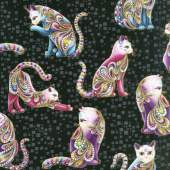 Cat - i - tude - Artist-O-Cats Black Multi Yardage