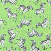 Animals - Tossed Zebras Lime Yardage