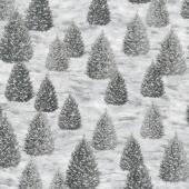 Winter White: Solstice - Winter Christmas Grey Metallic Yardage