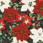 Let It Sparkle - Holiday Bouquet Radiant Black with Red Glitter Yardage