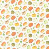 Fall Delight - Tossed Pumpkins Ecru Yardage