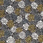 Silverstone - Flowers Onyx Metallic Yardage
