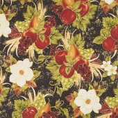 Bounty of the Season - Fruit Black Metallic Yardage