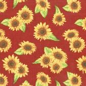 Jardin Du Soleil - Sunflower Toss Red Yardage