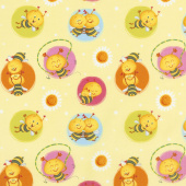 Busy Bees - Bees in Circles Yellow Yardage