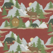 Designer Flannel - Cabin Fever Scene In Color Red Yardage