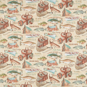 Rod and Reel - Allover Beige Multi Yardage