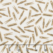 Loads of Fun - Clothes Pins Taupe Yardage