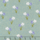 Totally Tulips - Teal Tulip Twirl Dark Teal Pearlized Yardage