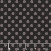 Kimberbell Basics - Dots Gray on Black Yardage
