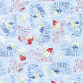 Berry Sweet - Berries and Word Toss Light Blue Yardage