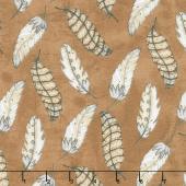 Love 4 Cotton - Feathers Medium Brown Yardage