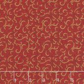 Gilded Blooms - Scrolls Poppy Metallic Yardage