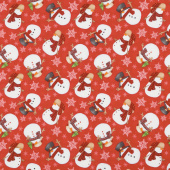 Flannel Gnomies - Tossed Snowmen Red Yardage