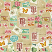Paradise - Postage Stamps Tan Yardage