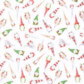 Gnoming Through the Snow - Tossed Gnomes White Yardage