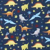 Prehistoric Adventure - Dinosaurs Navy Digitally Printed Yardage