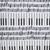 Winterfleece Prints Conversational - Piano Keys White Fleece Yardage