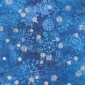 Artisan Batiks - Snowflakes 2 Snowflakes Royal Metallic Blue Yardage