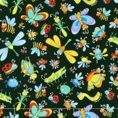 Novelty - Tossed Bugs Black Yardage