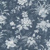 "Snowberry - Floral Toile Midnight 108"" Wide Backing"