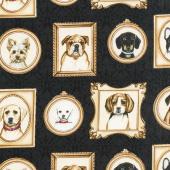 Faithful Friend - Dog Portraits Black Yardage