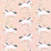 Enchanted - Unicorns Galore Blush Yardage