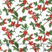 Merry, Berry, and Bright - Boughs of Holly Radiant Noel Metallic Yardage