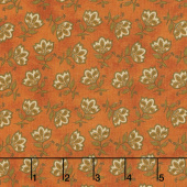 Harvest Berry - Tossed Jacobean Flower Orange Yardage