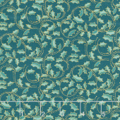 Festive Chickadee - Golden Leaf Dark Teal Metallic Yardage