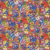 Feline Frolic - Packed Cats Multi Color Metallic Yardage