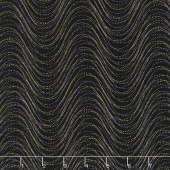 Pansy Noir - Wind Wave Black/Multi Metallic Yardage